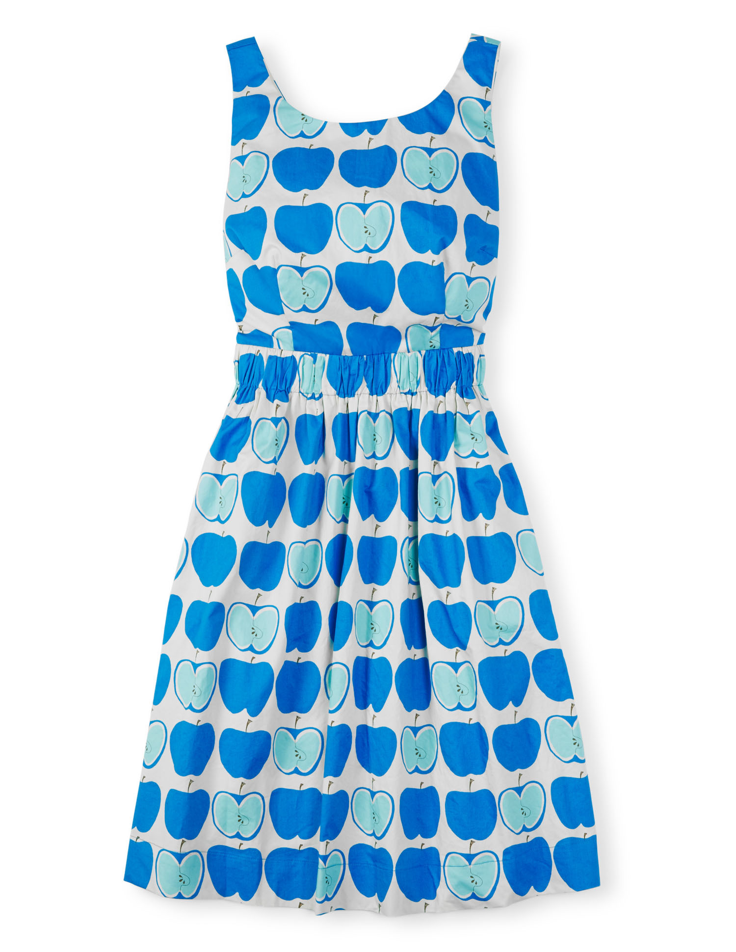 Beatrice dress in bright cyan apples, £89, Boden