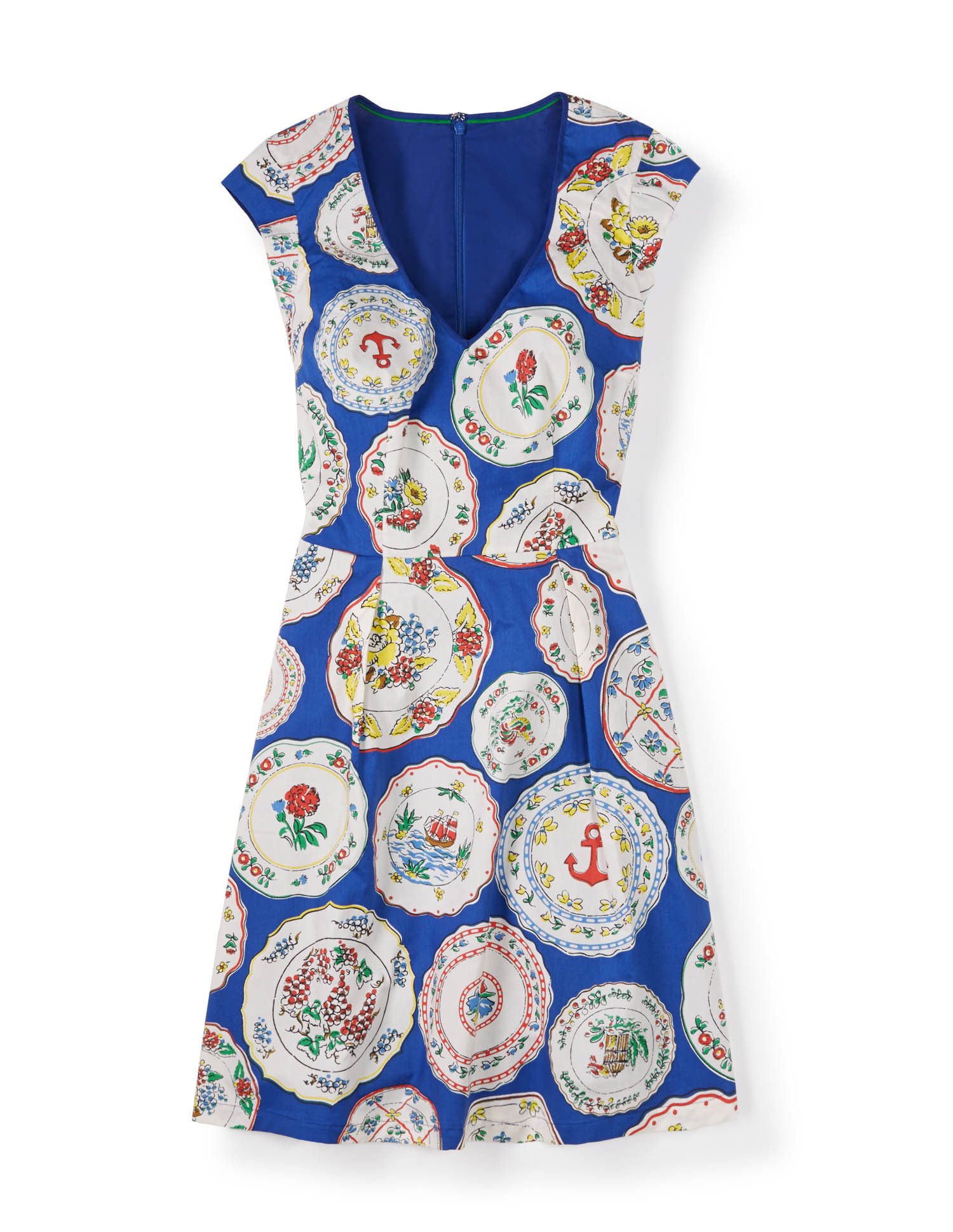 Printed spring dress in blue plates, £89, Boden