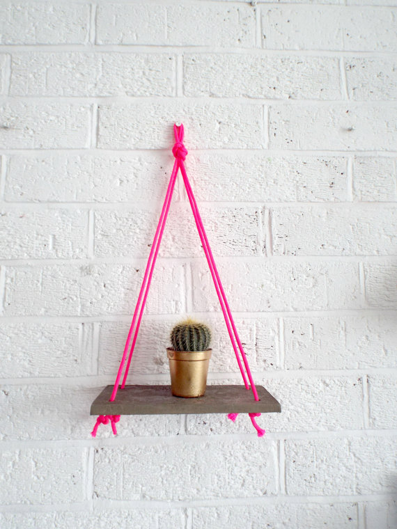 Hanging crochet mini shelf,£24, Kelly Connor Designs on Etsy