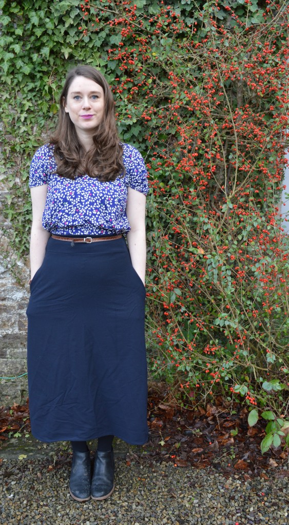 And She Made midi navy blue skirt
