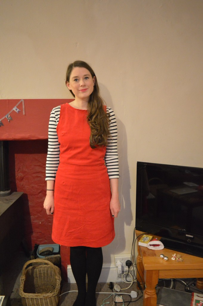 Red cord pinafore dress And She Made