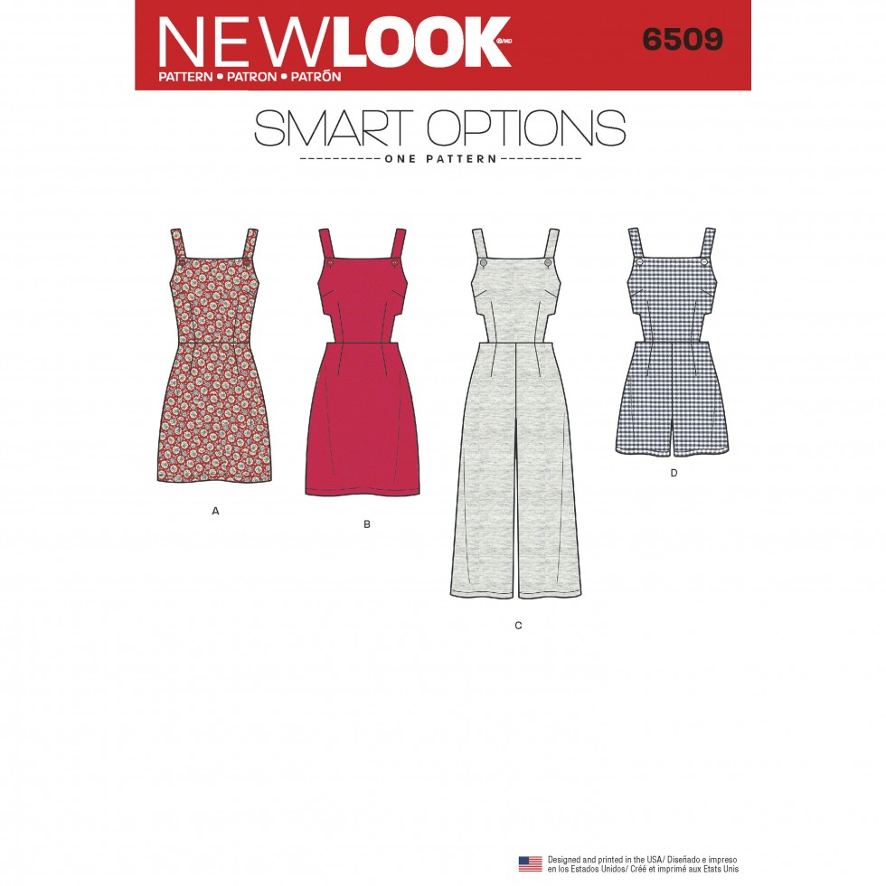 newlook-6509-new-look-ladies-sewing-pattern-6509-rompers-dresses